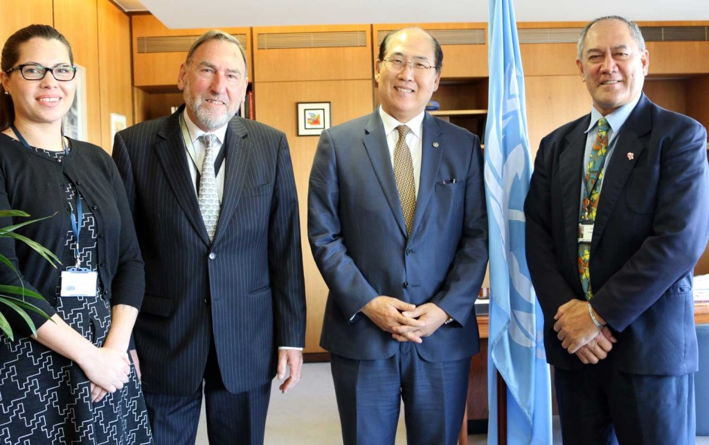 From left: Ms. Paula Manarangi (Maritime Cook Islands Legal Advisor), His Excellency Capt. Ian Finley (Cook Islands Permanent Representative to IMO), His Excellency Mr. Kitack Lim (Secretary-General of IMO) and His Excellency Mr. Ned Howard (Secretary of Ministry of Transport)